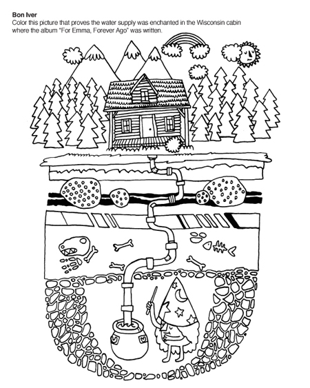 Indie Rock Coloring Book Bon Iver Page In